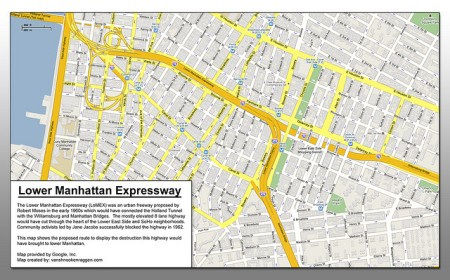 Map of the proposed Lower Manhattan Expressway (image: Vanshnookenraggen/Flickr)