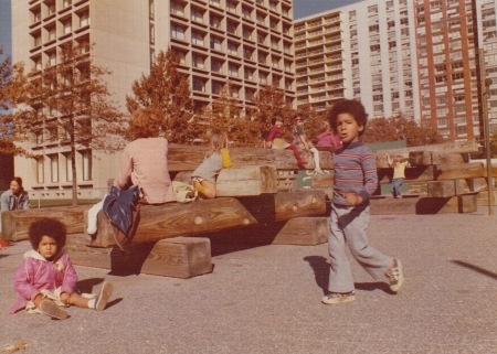 The pre-Coles NYU Playground with the Silver Towers behind, ca. 1975