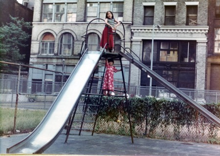 The big slide in the old NYU playground (Mercer Street in background)