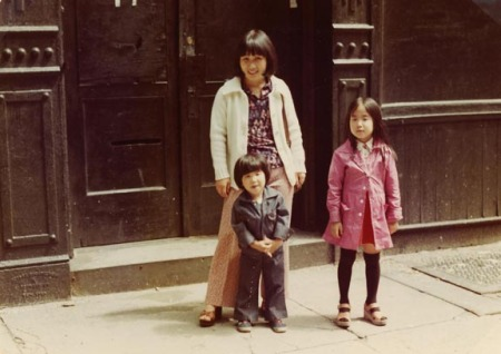 My mom, my sister, and me standing in front of our building on Crosby Street, ca. 1975