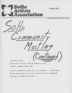 A flyer from the SoHo Artists Association