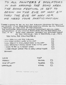 SoHo Festival Flyer - to recruit SoHo artists to participate in the May 1970 (? or thereabouts) festival