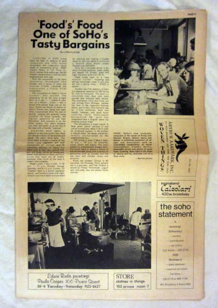 A review of the restaurant FOOD in the November 20, 1971 (Vol. 1 No. 1) issue of the The Soho Statement.  Does anyone remember that paper?