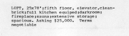 Loft For Sale - Copy for an advertisement, date unknown.  Sounds like a nice place.  And I think it was on West Broadway!