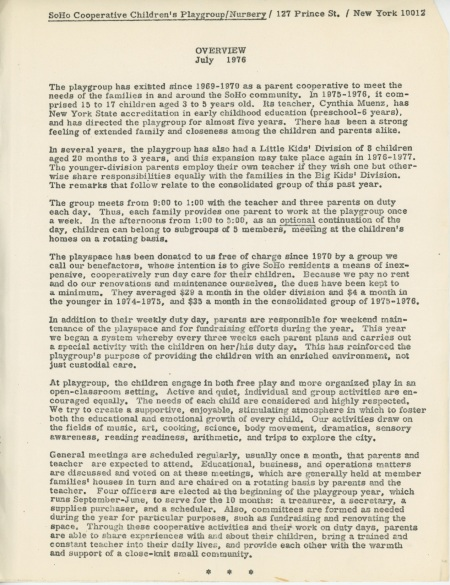 SoHo Cooperative Children's Playgroup - Overview of the playgroup from July 1976