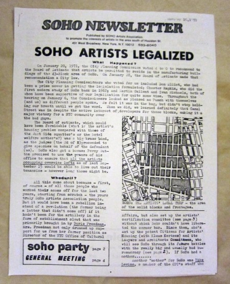 SoHo Newsletter - February 10, 1971 issue announcing the legalization of artists' lofts in SoHo.