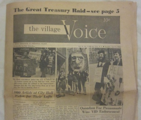 The Village Voice - April 9, 1964 issue about artists rallying for loft rights, back when you had to pay (10 cents!) for the paper.
