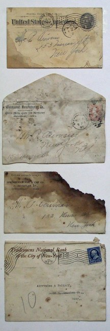 Mail addressed to P. Aiervaiss with late-19th century postmarks