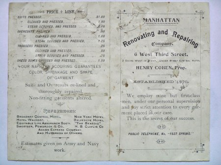 Brochure from the Manhattan Renovating and Repairing Company