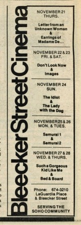 Check out what was playing the the Bleecker Street Cinema in 1974