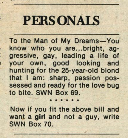 I'm not sure I understand this personal ad