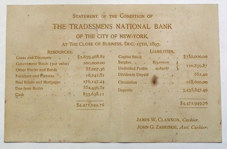 Financial statement from The Tradesmens National Bank of New York from 1897