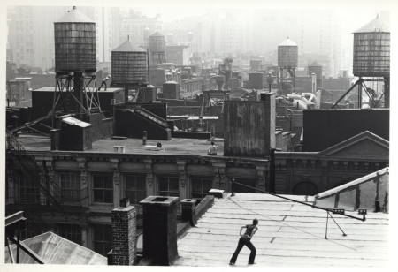 Babette Mangolte, Roof Piece (Trisha Brown), 1973, photograph of Trisha Brown's Roof Piece performed from 53 Wooster to 381 Lafayette Street, New York City, 1973. Courtesy Babette Mangolte via Flavorwire.com