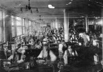 Factory workers: 1880's-1950's — After the Civil War, as New York's commercial and entertainment centers began moving further uptown, to Union Square and then to what is now Times Square, the textile industry began moving into the area and remained until the 1950′s, when the first artists in search of large raw spaces began moving in.  (image: ILR/Cornell)