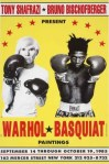 "Warhol, Basquiat, Shafrazi: 1980's — By 1985, when the Shafrazi Gallery mounted its Warhol-Basquiat show, advertised by the now infamous posters of the artists in boxing gloves ready to ""fight"" each other on canvas, SoHo had changed drastically.  The neighborhood entered a new phase in its history where superstar artists and gallerists hobnobbed with their wealthy clientele who began coming to SoHo and eventually moving into lofts, driving up property values and driving out many who could no longer afford to live and work there."