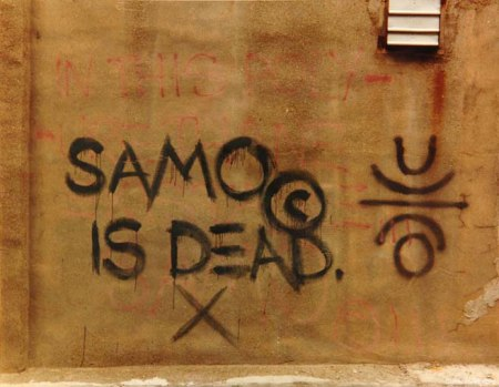Jean-Michel Basquiat's tag SAMO on a wall.