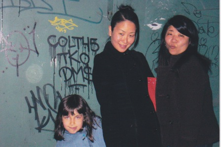Me, with Mimi and Louise, in  front of the doors in 2006.