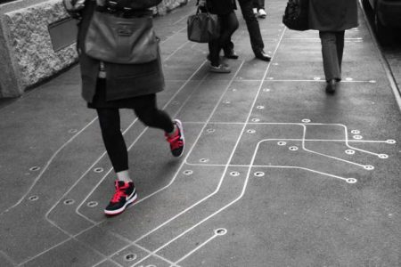 "Francoise Schein's ""Subway Map Floating on a NY Sidewalk"" on Greene Street between Prince and Spring"