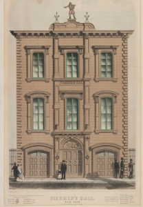 Drawing of the oringinal Firemen's Hall (source: MCNY via NYT)