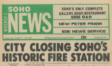 The SoHo weekly News, November 1973.  See the end of this post for highlights from this issue.