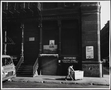 Mercer Street at Prince Street, Onetime Guggenheim SoHo, now Prada SoHo. Photo: MCNY, Edmund V. Gillon
