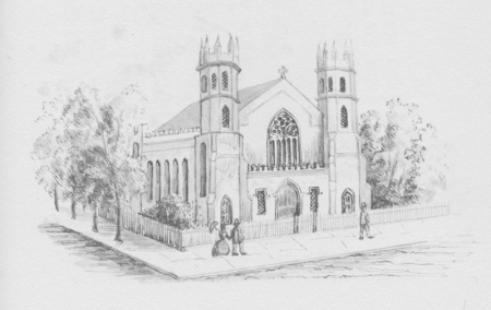 St. Thomas Church, 1887 at the corner of Broadway and Houston (drawing by Gene Schermerhorn)