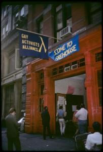Gay Activist Alliance Firehouse exterior, 1971 (photo: Diana Davies, NYPL Digital Collection)