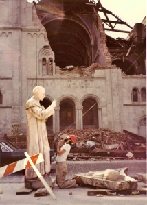 St. Alphonsus Chruch on West Broadway during demolition (photo: Rachel Pincus)