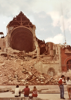 Demolition of Church of St. Alphonsus Liguori, 1979 (photo: Harry Pincus)