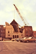 Demolition of Church of St. Alphonsus Liguori West Broadway, 1979 (photo: Harry Pincus)